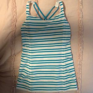 Lululemon striped fitted cross back tank size 2
